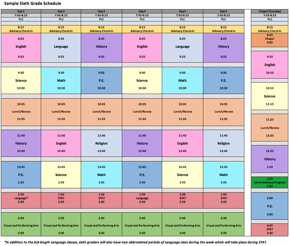 6th grade sample schedule