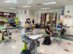 MS boys Math class social distancing